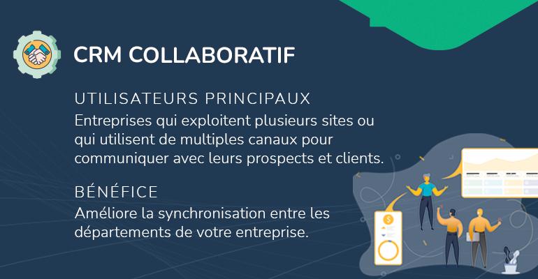 infographie types de CRM collaboratif utilisateurs principaux type de tâches bénéfice